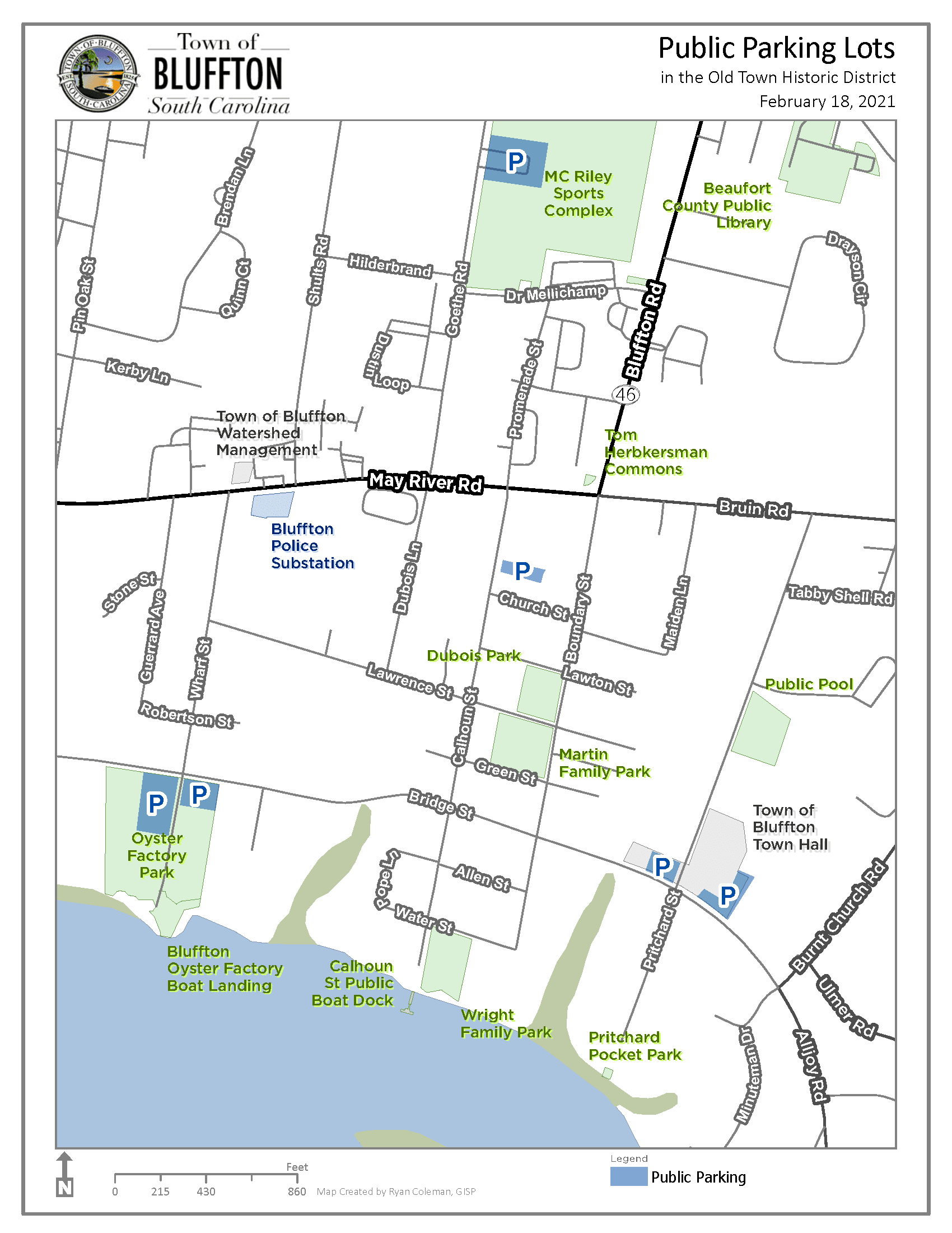Old Town Bluffton Historic District Parking Map