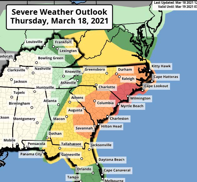 map of the southeast and storm possibilities